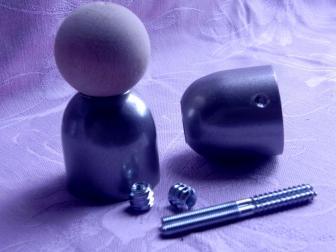 Соединение перила шар, цвет серый металлик, фотография 2